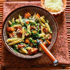 Easy Penne w/ Sweet Potatoes. For Meatless Monday how about Easy Penne Pasta with Balsamic Sweet Potatoes Arugula and Parmesan? Vegetarian Pasta Dishes, Vegetarian Recipes, Healthy Recipes, Healthy Foods, Pescatarian Recipes, Vegetarian Lunch, Fun Recipes, Healthy Options, Pasta Recipes