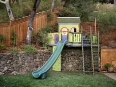 hillside playhouse for kids | Outdoor Spaces for Children