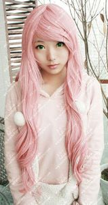 New Fashion Long Curly Cosplay Light Pink Party Wig Wigs+gift  15.95