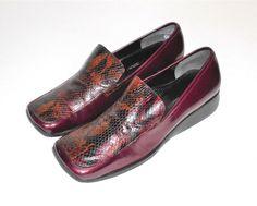 Enzo Angolini Burgundy Brown & Black Leather Wedge Heel Reptile Print Loafer 10M #EnzoAngiolini #WedgeHeelLoaferSlipOn