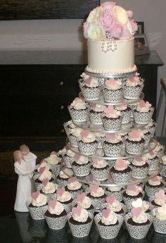 White Wedding Cake and Cupcake Decorating Ideas cup-cake-towers food-and-recipies food-and-recipies Engagement Party Cupcakes, Engagement Party Decorations, Engagement Cakes, Wedding Cakes With Cupcakes, Engagement Ideas, Cupcake Party, Cupcake Cookies, Cupcake Ideas, Engagement Wishes