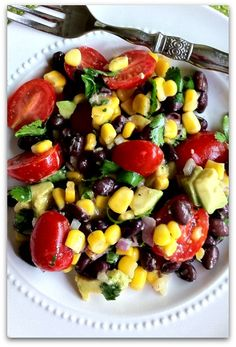 California Summer Salad...Ingredients: 1-2 Tbsp olive oil, 1 Tbsp lime juice 1/4 cup freshly chopped cilantro 1/2 tsp salt 1/2 tsp black pepper 2 1/2 cups corn kernels (5 ears or frozen)  1 pt cherry tomatoes, halved, 1/2 cup red onion, 1/15 oz can black beans  Pair with grilled chicken, beef, or even fish. If you have leftovers don't let them go to waste. Serve as a dip with tortilla chips or roll up in a tortilla or add some greens  Enjoy!