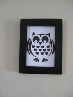 Owl Drawing on a Blue Paper Framed black by CampbellsCreation, $20.00
