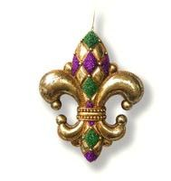 Diamond Fleur De Lis Ornament Mardu Gras Small