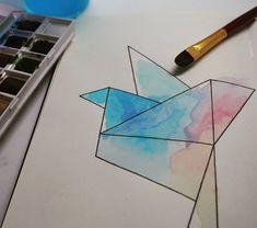 Origami Vogel in Aquarellfarben #aquarell #origami #kunst #aqua #aquarellepainting #aquarelle #aquarellfarben #art #aquarellkunst…