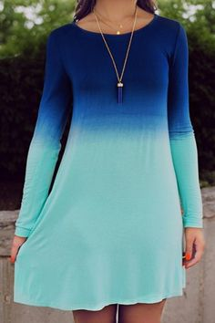 Me likes!!! --- Stylish Scoop Collar Long Sleeve Ombre Color Women's Dress