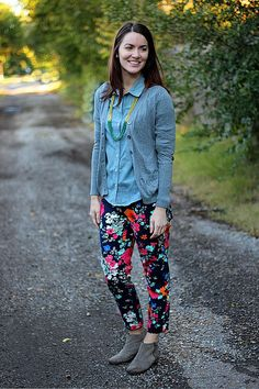 how to wear floral pants in the fall