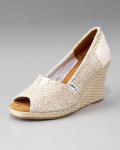 love these!! TOMS Metallic Burlap Wedge
