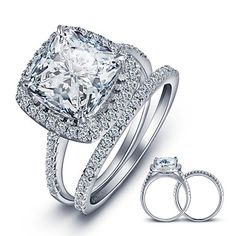 Argent 925 Fashion Women/'s Wedding Engagement Band Ring Square Bijoux Taille 5-9