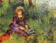 Madame Renoir With A Dog by Pierre Auguste Renoir