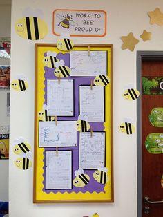 Work to 'bee' proud of. Classroom display. Achievement board.