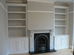 Alcove storage - traditional solution, finishing below cornice ( could light space above for display use) Living Room Shelves, Living Room Storage, Living Room With Fireplace, New Living Room, Wall Storage, Storage Baskets, Alcove Cupboards, Built In Cupboards, Built In Shelves