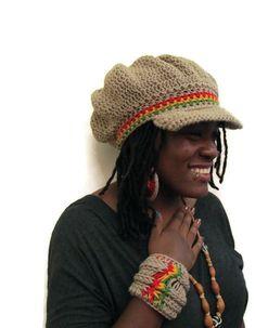 Taupe Beanie/Tam/Rasta Hat with Rasta Stripes and by ScarFanatic, $38.00