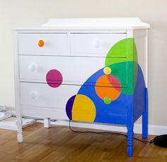 Polka Dot multi colored dresser Refinishing Furniture Tips To Spark Your Imagination