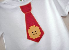 READY TO SHIP - Little Guy Faux Tie Tee T-Shirt - White T-Shirt Youth Extra Small Embroidered Faux Tie - Lego Block Head Mini Figure - Red Lego Faux Tie