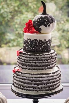 Black and white ruffle cake with white pumpkin, Gothic style