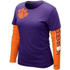 Nike Clemson Tigers Ladies Cross Campus Too Double Layer Long Sleeve Premium T-Shirt - Purple #Fanatics