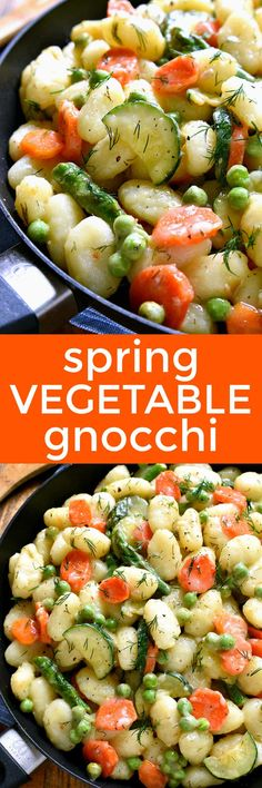 This Spring Vegetable Gnocchi is creamy, delicious, and perfect for spring! It's loaded with the BEST spring vegetables and comes together in under 20 minutes. Perfect for busy weeknights.and belie(Vegan Casserole Vegetable) Healthy Food Recipes, Whole Food Recipes, Cooking Recipes, Healthy Snacks, Vegetable Recipes For Kids, Veggie Recipes, Veggie Dishes, Pasta Dishes, Gnocchi Recipes