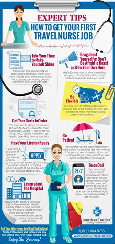A travel nurse's guide for landing your first travel nurse job.  Read about the top tips for consideration and first steps needed to be taken to conquer your first job. #travelnurse #rnjobs #infographic https://www.americantraveler.com/infographic-expert-tips-how-get-your-first-travel-nurse-job