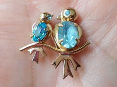 Vintage Gold Tone Miniature Mother and Son Birds Brooch. by Bestintreasures on Etsy