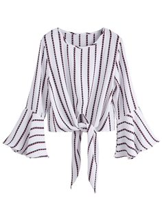 White Striped Knot Front Bell Sleeve Crop Blouse Size Available: one-size Type: Crop Fabric: Fabric has no stretch Season: Fall Pattern Type: Striped Sleeve Le… Bell Sleeve Crop Top, Bell Sleeve Blouse, Bell Sleeves, Crop Blouse, Collar Blouse, Long Blouse, Striped Crop Top, White Long Sleeve, Corsage