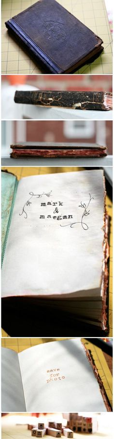 it only makes sense that our guest book be diy as well. :)  DIY Vintage hardcover book Wedding Book