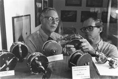 Museum curator Austin Hogan and registrar David Ledlie examine some reels in this Museum photo ca. 1976.