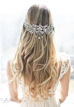 Long Wedding Hairstyle with Vintage Inspired Bridal Headpiece / http://www.deerpearlflowers.com/wedding-hairstyles-and-bridal-wedding-accessories/2/