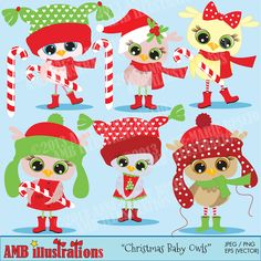 How cute are these little baby owlettes all ready for Christmas!