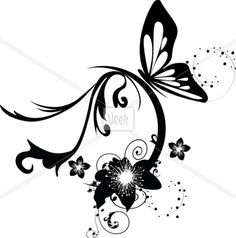 illustration with cherry tree flowers and butterflies silhouette Stock Illustration
