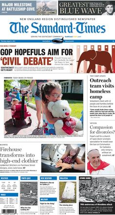 The Standard-Times. Aug. 6, 2015  Volunteers reach out to New Bedford homeless camp; teddy bears and their buddies were on parade in Fairhaven; Pope Francis calls for an 'open door' church; a New Bedford firehouse transforms into a high-end clothier, and more.
