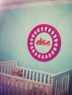 This idea is genius! A Lovely Little Life transformed a mirror into unique wall art. #nursery