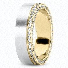 Men's Wedding Band White Gold with White Diamonds by JPoliseno, $2800.00