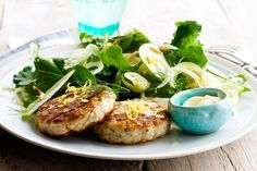 Chicken and tarragon patties with fennel and apple salad