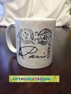 Coffee Tea or Hot Cocoa Mug Paris France Postage by gift2give, $12.00