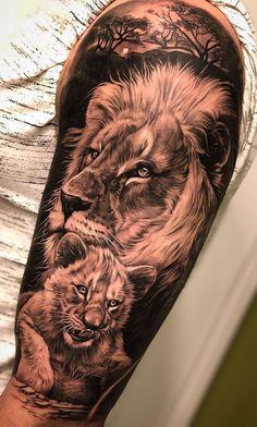 50 eye-catching lion tattoos that make you want to ink - fantastic lion . - 50 eye-catching lion tattoos that make you want to ink – fantastic lion family tattoo © tattoo a - Lions Tattoo, Lion Cub Tattoo, Cubs Tattoo, Lion Head Tattoos, Mens Lion Tattoo, Lion Tattoo Design, Wolf Tattoos, Animal Tattoos, Girl Tattoos