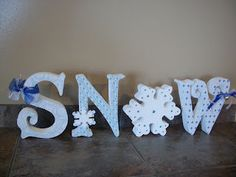 Snow Wood Letters by preciousmomentsdecor on Etsy, $45.00