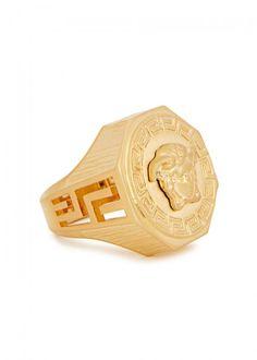 VERSACE BRUSHED GOLD TONE MEDUSA RING. #versace #