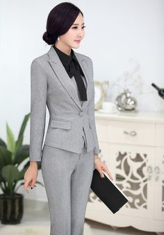 2016 Professional Formal Pantsuits Ladies Business Women Suits 3 pieces With Jackets + Pants + Vest Female Trousers Sets OL _ {categoryName} - AliExpress Mobile Version - Business Casual Attire, Business Dresses, Suit Fashion, Fashion Outfits, Suits For Women, Clothes For Women, Look Office, Professional Outfits, Beautiful Blouses