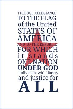 Pledge of Allegiance Free Printable | Use for a table favor, framed art, cards, crafts and more!