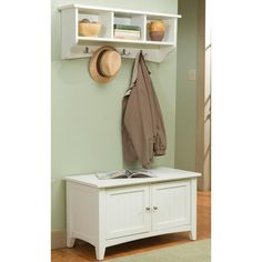 Shaker Cottage Storage Bench and Coat Hook set can be used in the mud room, entryway or anywhere you need a bit more organization. Sit on the bench to put on or remove your shoes; store your keys, gloves and more in the storage hook's cubbies. Retro Furniture, Wood Furniture, Furniture Ideas, Furniture Movers, Furniture Companies, Cheap Furniture, Bench Coats, Hall Tree With Storage, Storage Hooks