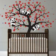 Panda and Cherry Blossom Tree Wall Deca,Cherry Blossom Tree Decal, Panda Tree, Panda decals for nursery