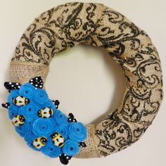 Bumblebee Burlap Wreath with Blue Roses by maggiemoonpie on Etsy
