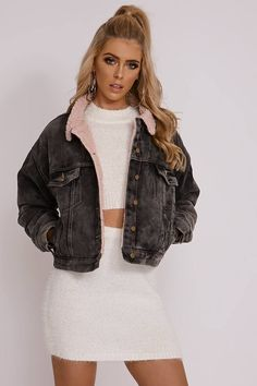 OLIVIA ATTWOOD GREY SHEARLING DENIM JACKET