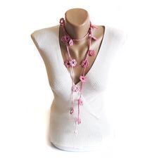 Hey, I found this really awesome Etsy listing at https://www.etsy.com/uk/listing/126835347/handmade-pink-lariat-necklace-scarf