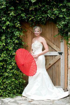 Coral wedding - love the umbrella