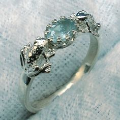 2 Frogs Ring Natural Aquamarine Hand Crafted by PaulTheJeweler, $49.00