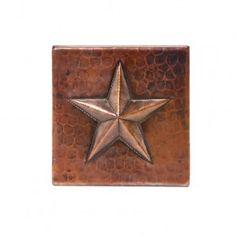 "Texas star kitchen backsplash. Premier Copper Products 4"" x 4"" Copper Star Tile - T4DBS"