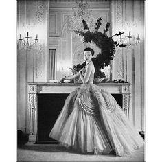 Christian Dior, 1952. Black and white. Glamour. Vintage. Old world. Elegance.