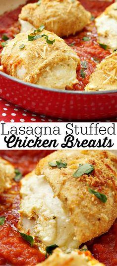 Easy One Pot Dinner Recipe, Lasagna Stuffed Chicken Breasts